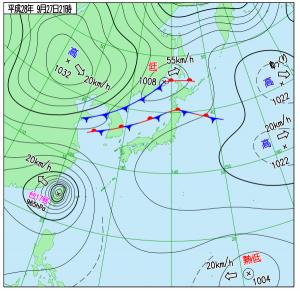 2016-0927-21現在の天気図。