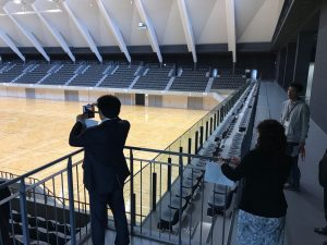 高崎アリーナの観客席にて。新しい体育館はこうなる?!
