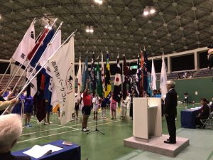 各種目の団体旗に囲まれての選手宣誓