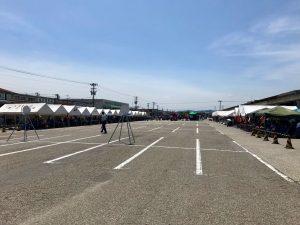 消防団操法大会の会場となった高岡卸売市場。