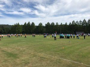 城光寺陸上競技場で行われた県民体育大会ゲートボール競技。