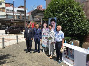 右から演出の布施さん、古村さん、富山県後援会長の渡辺県議、ニューオータニ高岡社長の吉田さん