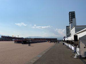 全国消防操法大会開会式にて。午前中は大変良い天気でした。