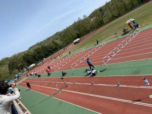 市長杯陸上競技大会が行われる、競技前の城光寺陸上競技場
