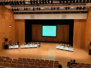 ウイング・ウイング高岡で行われる議会報告会のリハーサル。