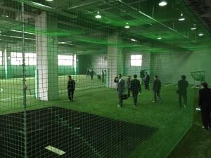 新球場の室内練習場。