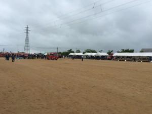 高岡市消防団の操法大会。定塚分団の競技前の模様。
