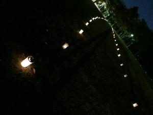 幻想的なろうそくの火が会場となった古城公園を照らしました。