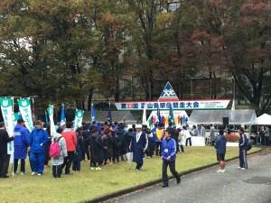富山県駅伝競走大会の開会式(前ですね)。