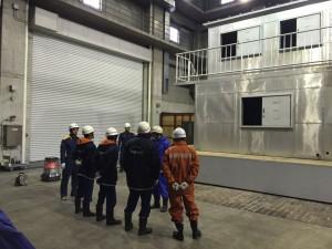 火災現場における現場確認等の訓練。