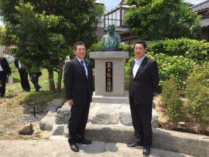 伏木測候所内に建てられた伏木近代化への開祖・藤井能三氏の銅像